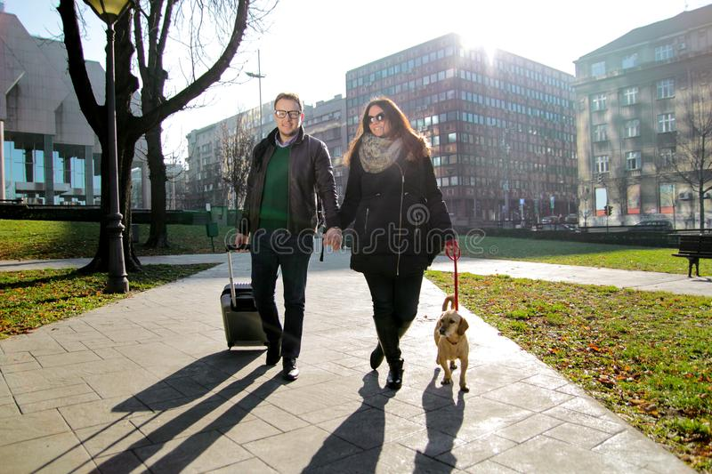 Couple in park with dog and enjoying the sunny day royalty free stock photography