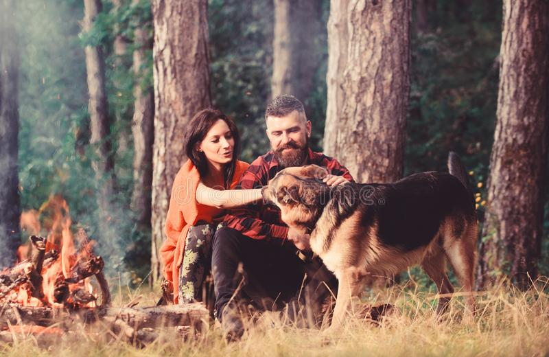 Couple pat german shepherd dog near bonfire, nature background. Woman, men and dog on vacation, hiking. Couple in love or young happy family spend time stock photo