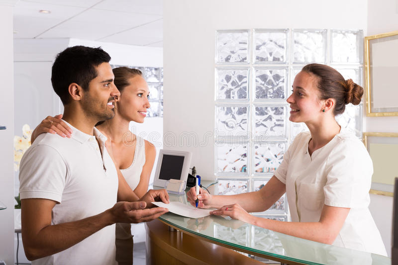 Couple patients visiting clinic. Adult couple patients visiting clinic family planning stock image