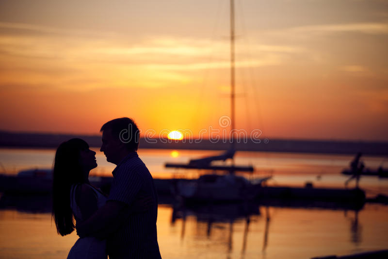 Couple on the peir stock images