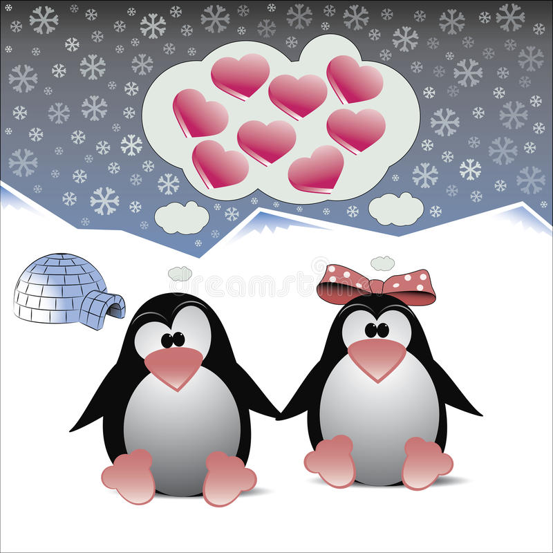 A couple of penguins in love royalty free stock photography