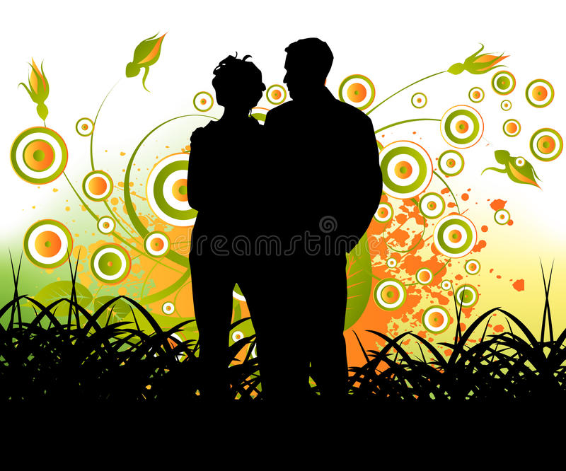 Couple people. Simple urban illustration for couple people in love royalty free illustration