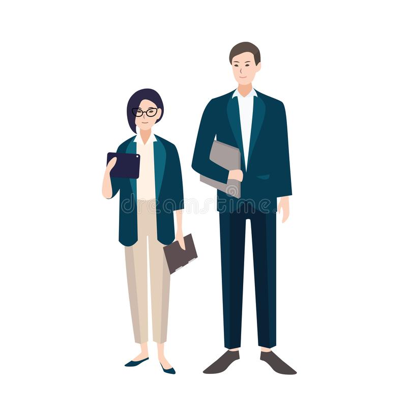 Couple of people dressed in business clothes or smart suits. Pair of male and female clerks or office workers isolated stock illustration