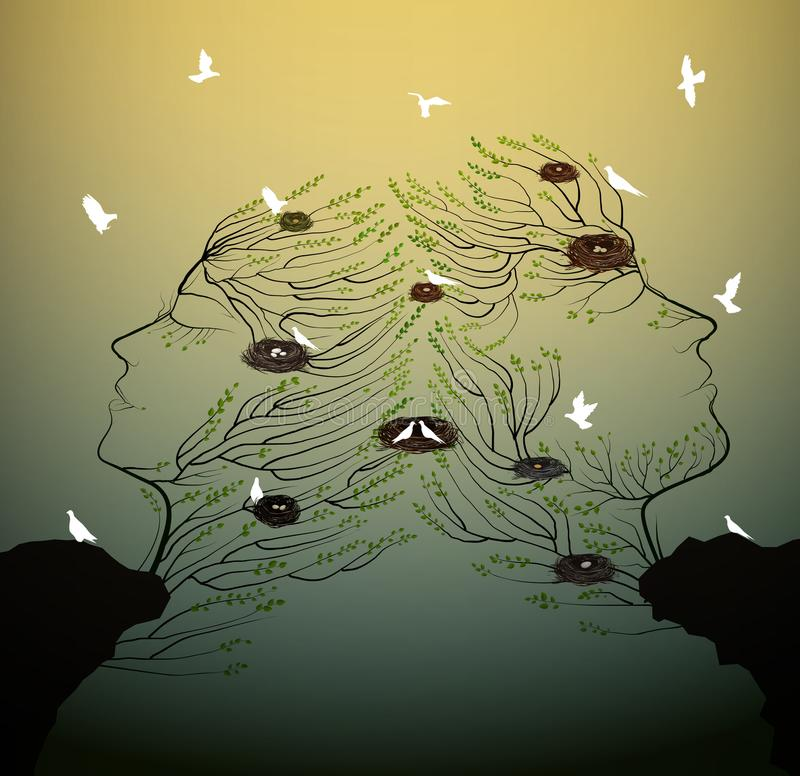 Couple of people look like tree branches silhouettes with bird nest growing on the rock, family and ralationships vector illustration