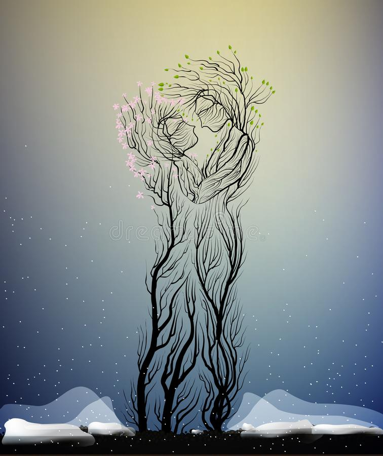 Couple of people look like tree branches silhouettes, two lovers concept, tree hug each other in cold winter weather,. Vector royalty free illustration