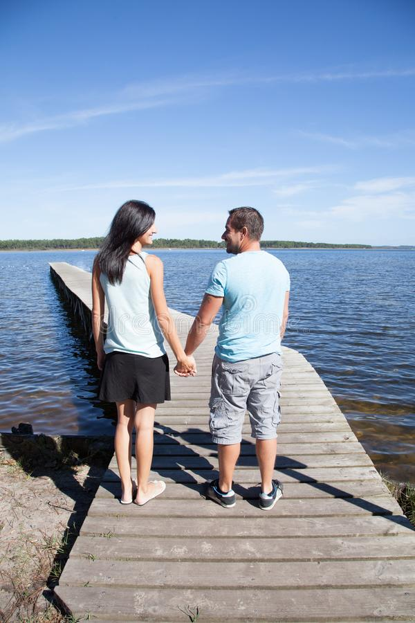 Couple people tourist with happy and relax time on pontoon royalty free stock photo