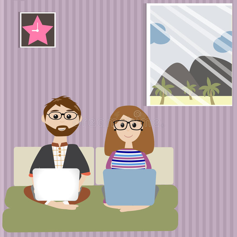 Couple people work from home stock illustration
