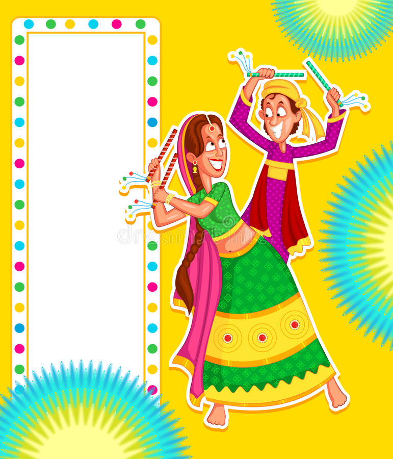 Couple performing Dandiya stock vector Illustration of clothing