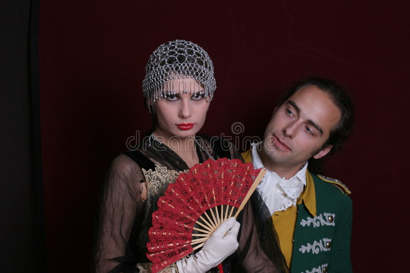 Couple In Period Clothing Stock Photo