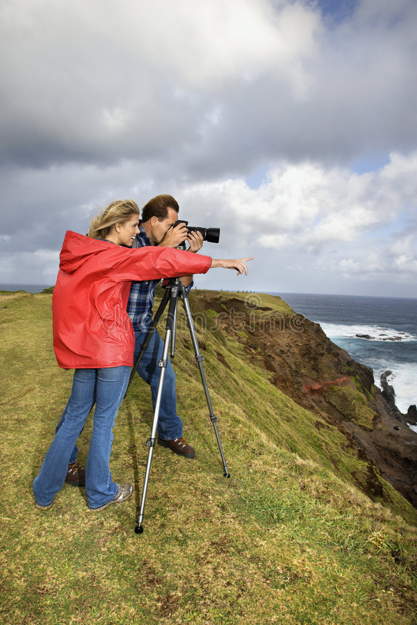Download Couple Photographing Scenery In Maui, Hawaii. Stock Photo - Image: 2037252