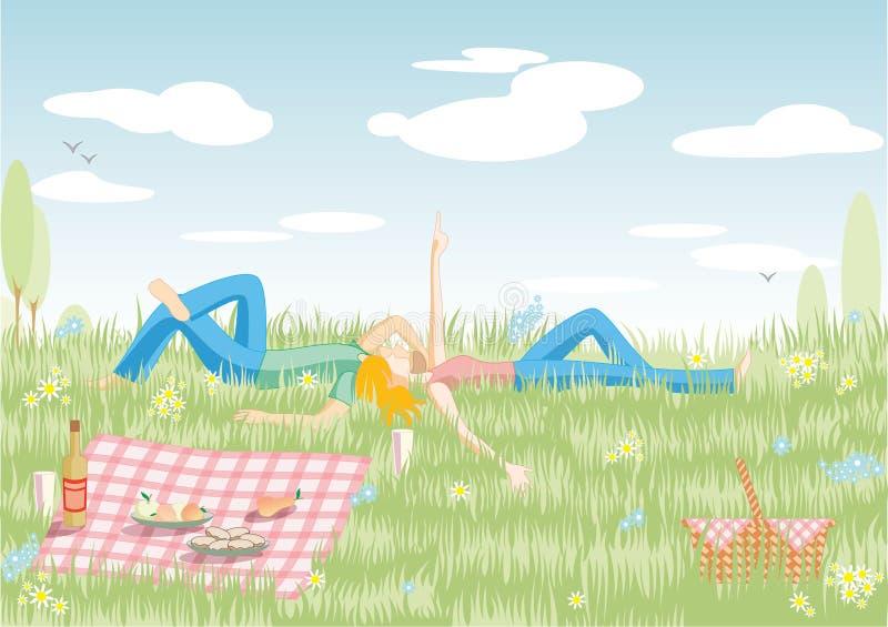 couple picnic διανυσματική απεικόνιση