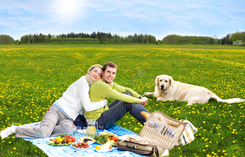 Couple at picnic with golden retriever royalty free stock photography