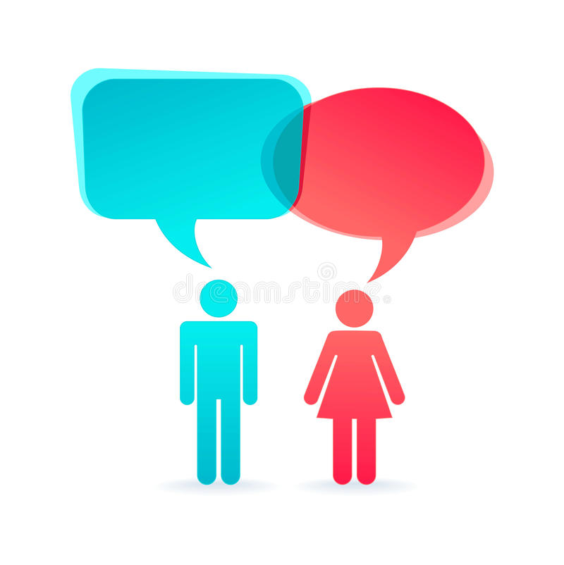 Couple - pictogram with dialog clouds vector illustration