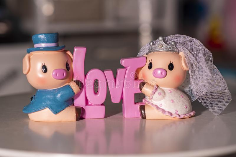 Couple Pigs lover used for home decoration royalty free stock image