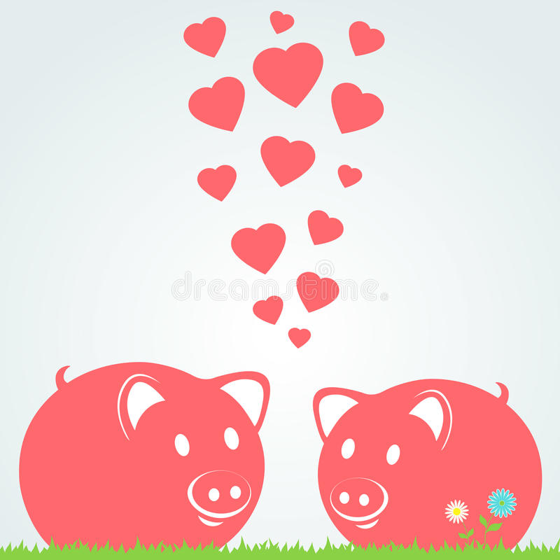 Couple of pigs. Vector illustration stock illustration