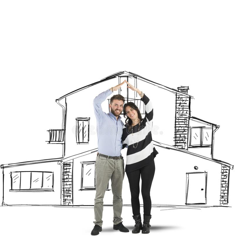 Couple planning a home stock photography