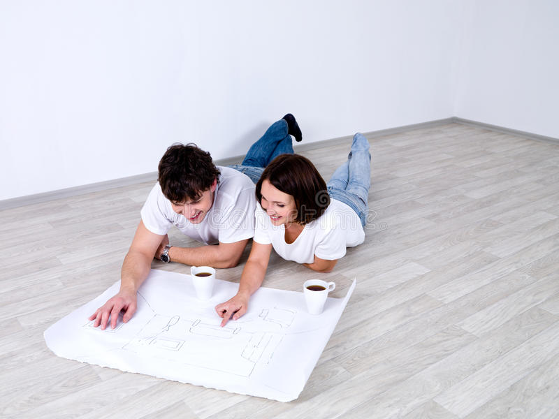 Download Couple planning new room stock image. Image of graph - 13951677
