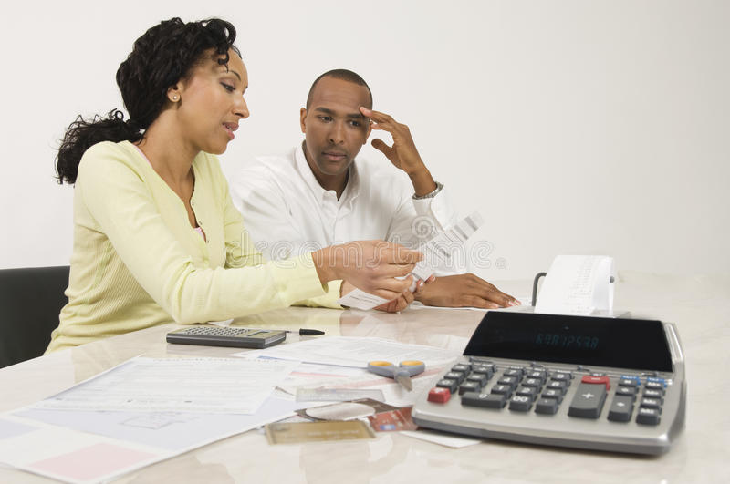 Couple Planning Their Financial Budget stock photo