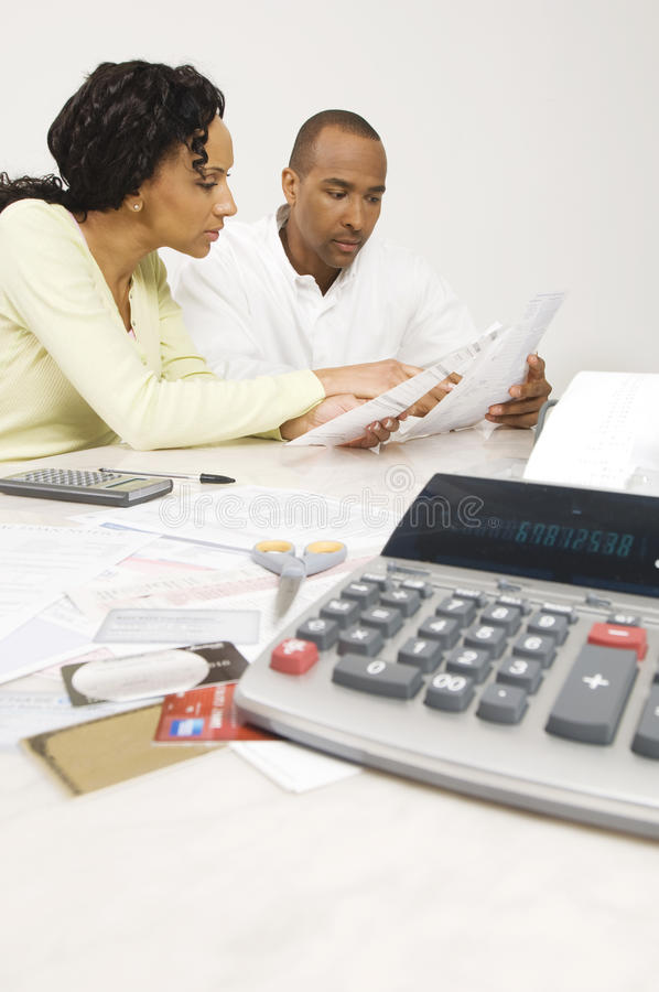 Couple Planning Their Financial Budget stock photos