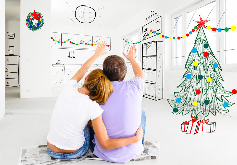 Couple planning to decorate new apartment royalty free stock images