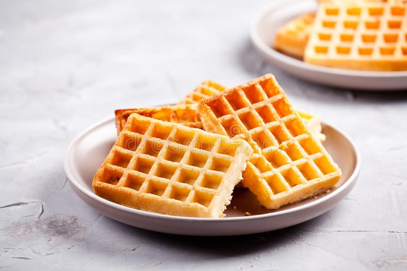 Couple Of Plates Of Homemade Waffles. Plate of a bunch of homemade waffles stock photography