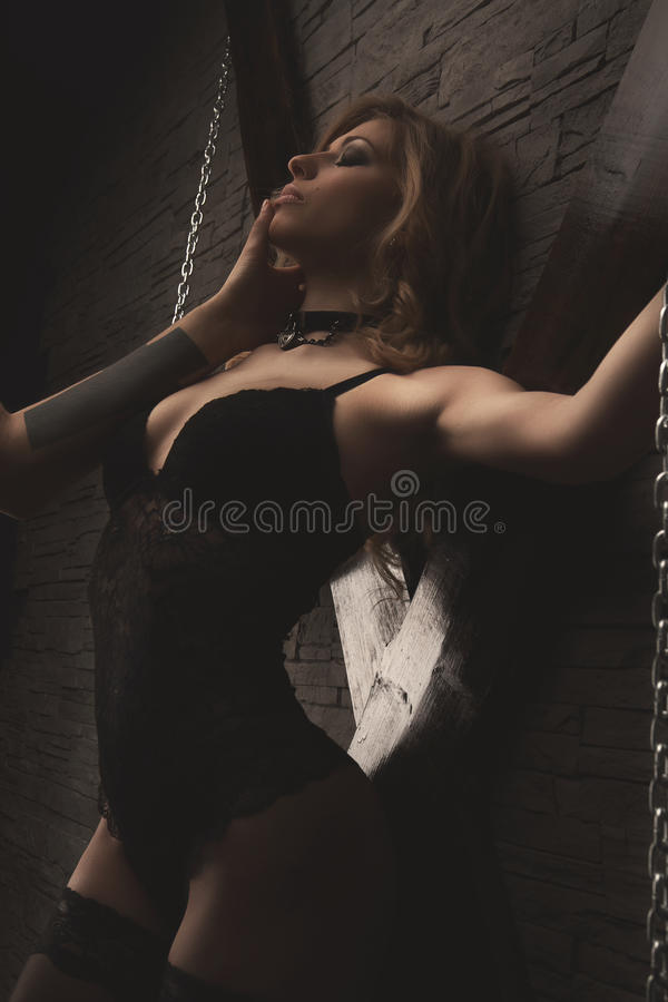 Couple Play In Love Games Bdsm Woman In Chains Stock Image - Image Of Chains -1557