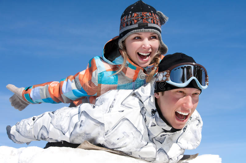 Download Couple play  in snow stock image. Image of children, couple - 26837587