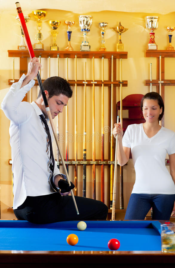 Couple Playing Billiard Expertise Teacher Stock Photos