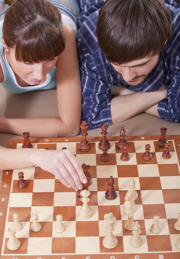 Download Couple Playing Chess Game Together Stock Image - Image of resting, together: 17587783