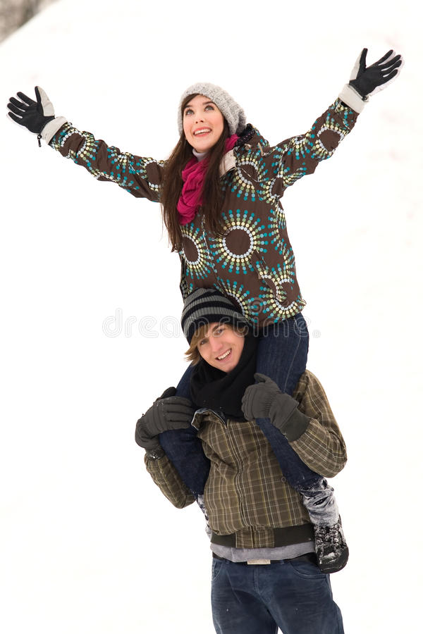 Download Couple playing in snow stock image. Image of cold, joyful - 12669191