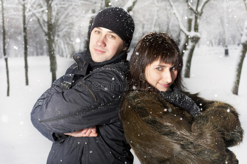 Download Couple Playing In Winter Park Royalty Free Stock Images - Image: 12686929