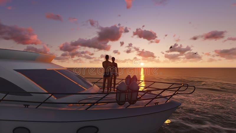 Download Couple on a pleasure boat stock illustration. Image of sunrise - 38026566