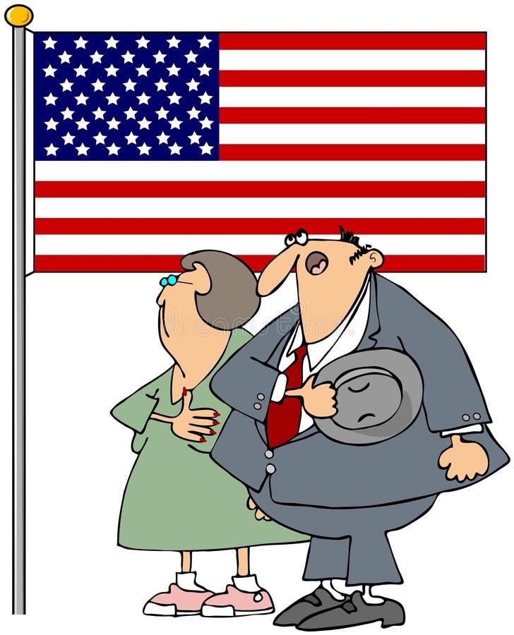 Couple Pledging Allegiance royalty free illustration