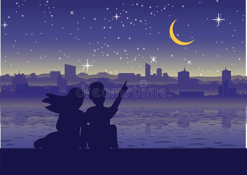 Couple point to moon at city near riverside,silhouette style. Silhouette style royalty free illustration
