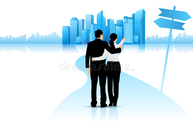 Download Couple pointing at Future stock vector. Image of home - 30738986