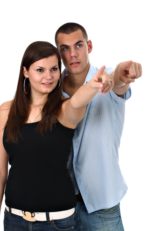 Couple Pointing Index Fingers To Side Isolated Stock Image