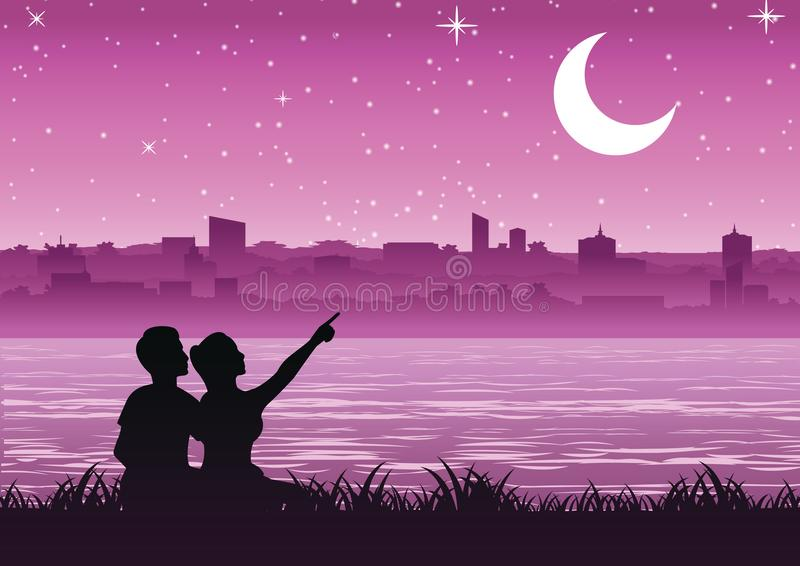 Couple pointing to the moon above the city near a riverside, si. Lhouette style stock illustration