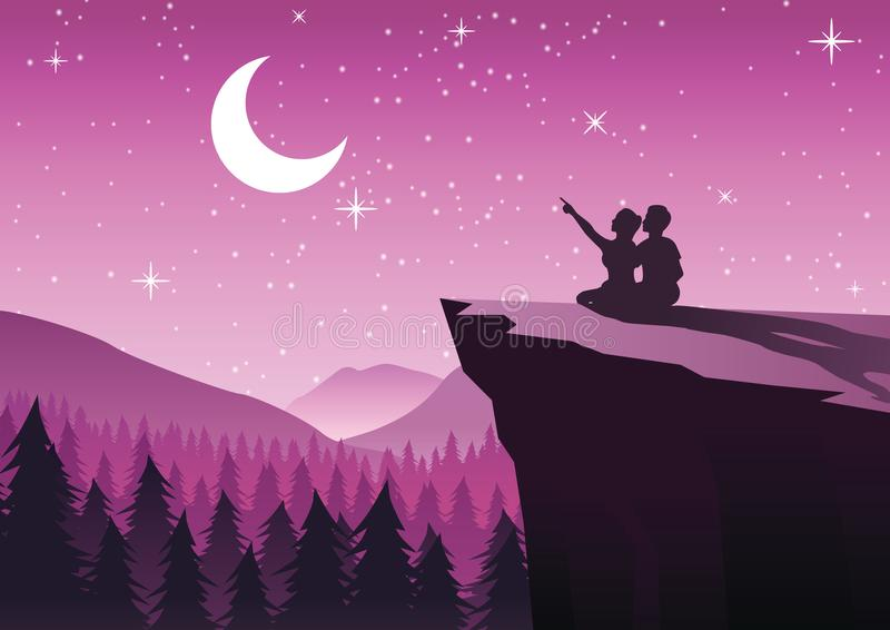 couple pointing to the moon in a night with stars sitting on cliff and close to a pine forest,silhouette style royalty free illustration