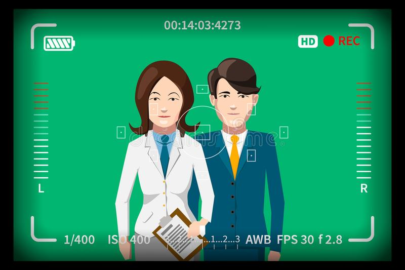 Couple portrait on chromakey, studio shoot concept with reflex photo camera viewfinder. Marks royalty free illustration