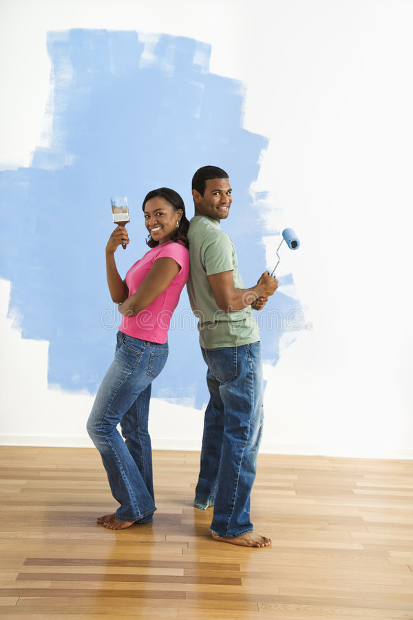 Download Couple Portrait With Paint Supplies. Stock Image - Image: 6152697