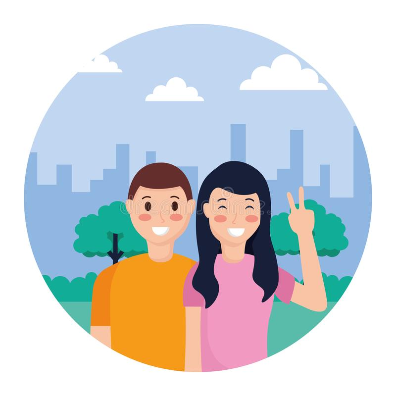 Couple posing in the park. Couple posing peace and love in the park vector illustration stock illustration