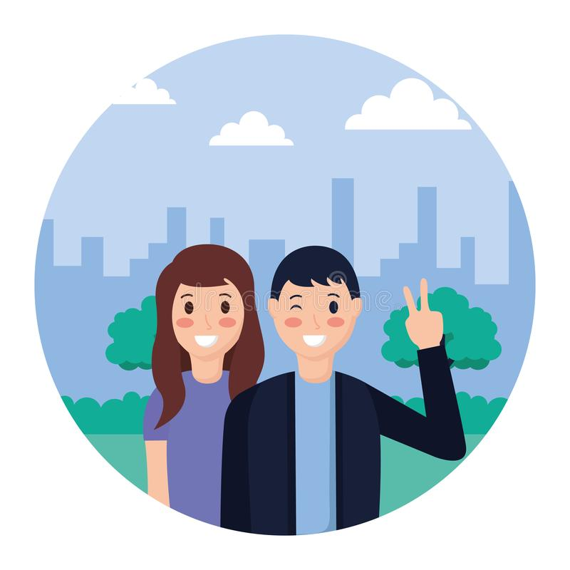 Couple posing in the park. Couple posing peace and love in the park vector illustration vector illustration