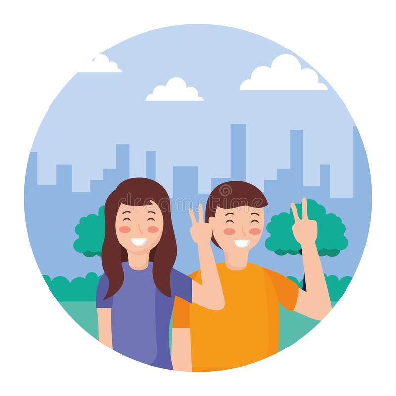 Couple posing in the park. Couple posing peace and love in the park vector illustration royalty free illustration