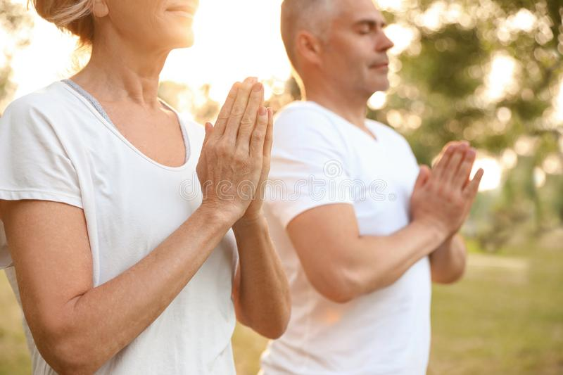 Couple practicing yoga in park at morning stock image