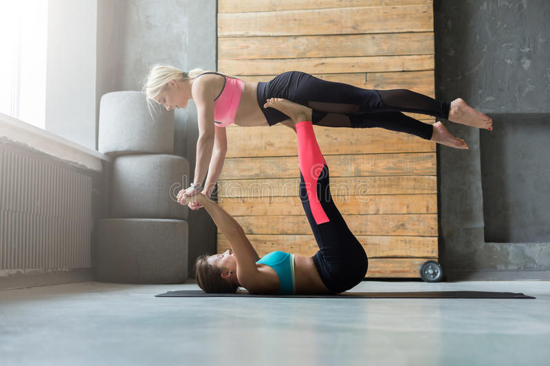 Couple Practicing Yoga At Studio Together Stock Photo Image Of Shape Stretch 91192280