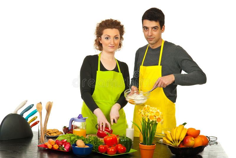 Couple preparing dinner royalty free stock image