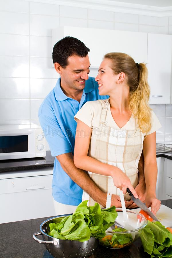 couple preparing food royalty free stock images