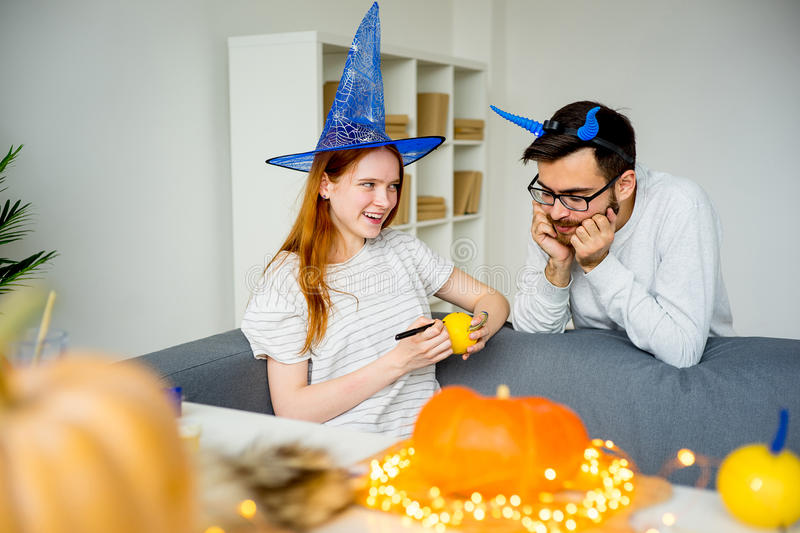Couple preparing for halloween stock images