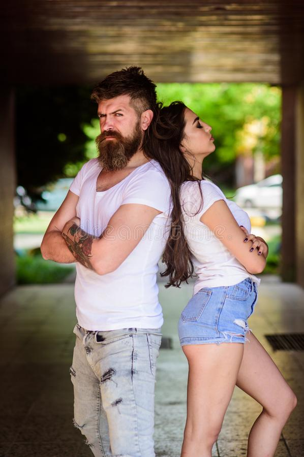 Couple problems relationship. Couple in love can not find same point of view. Girl attractive brunette bearded hipster royalty free stock photography