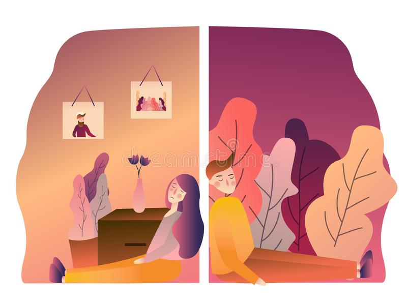 Couple with problems in relationship sad broken. back on wall. angry boyfriend girlfriend upset conflict. vector. Illustration gradient stock illustration